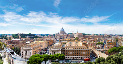 Photo sur Toile Europe Centrale Rome and Basilica of St. Peter in Vatican