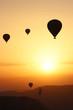 Balloons at sunrise. Backlight. Turkey. Cappadocia.
