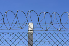 Detail Of Electric Fence With Concertina Wire