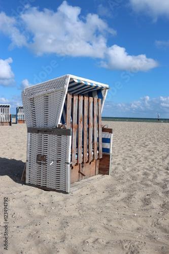 Spoed Foto op Canvas Noordzee Srandkorb geschlossen