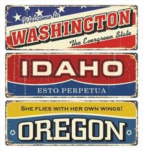 Vintage Tin Sign Collection With America State. Washington. Idaho. Oregon. South. North. Retro Souvenirs Or Postcard Templates On Rust Background.