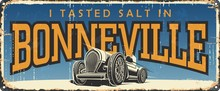 Vintage Tin Sign Collection With USA Cities. Bonneville. Utah. Retro Souvenirs Or Postcard Templates On Rust Background. Race.