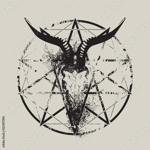 Photo  vector illustration with skull of goat and pentagram with splashes and curls