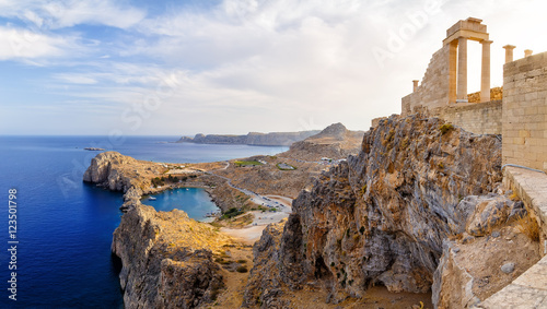 Fotobehang Athene Greece. Rhodes. Acropolis of Lindos. Doric columns the ancient Temple Athena Lindia the IV century BC and the bay St. Paul