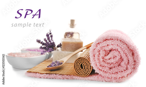 Poster Spa Spa composition and word SPA on white background. Space for text.