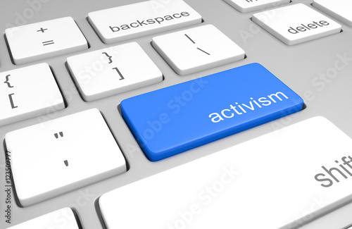 Concept for internet activism and social media outreach by activists, 3D renderi Canvas Print