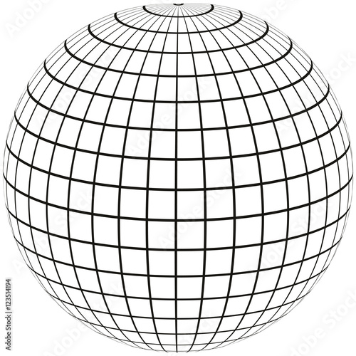Fotografía  ball with lines Earth globe with Meridian and longitude, 3D sphere vector illust