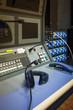 Headphone in Sound Engineer Mixing Control Room Music Studio Rec