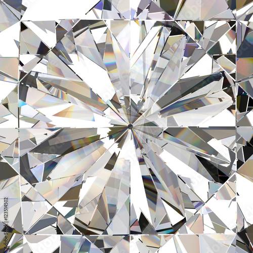 Naklejka na szybę Realistic diamond with caustic close up texture, 3D illustration.