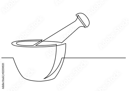 Photo  continuous line drawing of mortar and pestle
