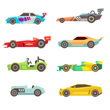 Sport Racing Car Flat Vector Icons Isolated On White