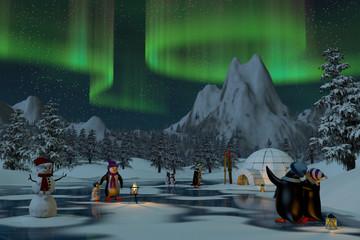 Fototapeta Zima Penguins under northern lights in a winter landscape, 3d render