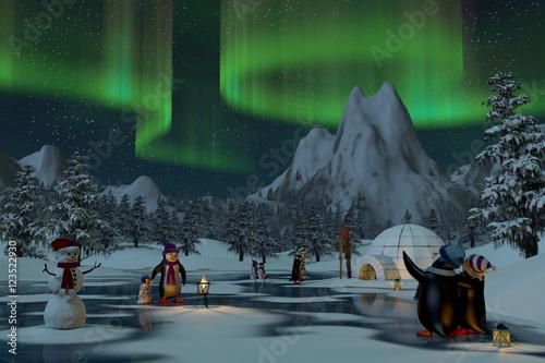 Penguins under northern lights in a winter landscape, 3d render - 123522930