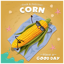 Vintage Corn Poster Design With Vector Corn Character.