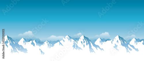 Fototapeta Vector illustration of snowy Himalaya mountains  obraz