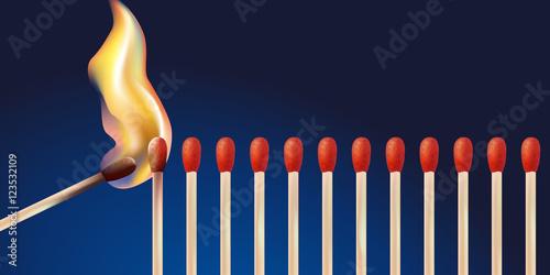 Valokuva  Effet domino - Allumettes - Flamme