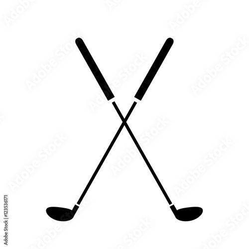 Crossed Golf Clubs Icon. A hand drawn vector illustration of crossed golf clubs. Wall mural