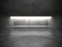 Dark Empty Room Interior With Old Concrete Walls And Ceiling