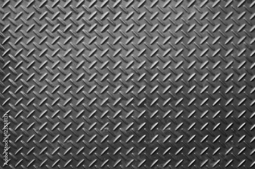 Tuinposter Metal Metal diamond plate or old checkered steel plate with rustproof coating well. background. texture.