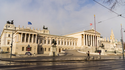Fototapeta na wymiar Austrian parliament building (Hohes Haus) in Vienna, Austria.