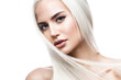 Leinwanddruck Bild - Beautiful blond girl in move with a perfectly smooth hair, and classic make-up. Beauty face. Picture taken in the studio.