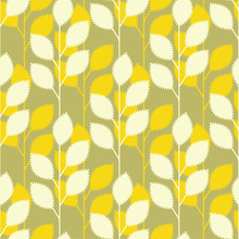 Serrated Leaves Seamless Pattern In Yellow And Green Shades