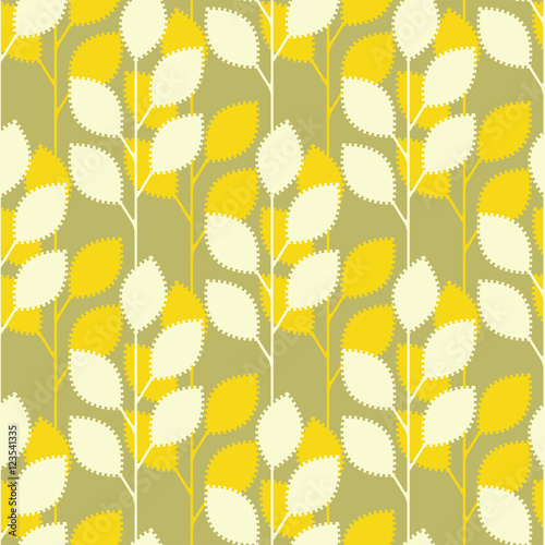 Obraz na plátně  serrated leaves seamless pattern in yellow and green shades