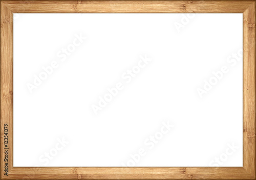 In de dag Bamboo empty wooden retro picture or blackboard frame with bamboo wood isolated on white background / Holzrahmen Bambus isoliert auf weißem Hintergrund