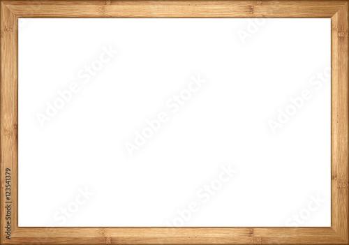 Foto op Plexiglas Bamboe empty wooden retro picture or blackboard frame with bamboo wood isolated on white background / Holzrahmen Bambus isoliert auf weißem Hintergrund
