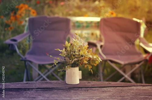 Printed kitchen splashbacks Cemetery Two picnic chairs