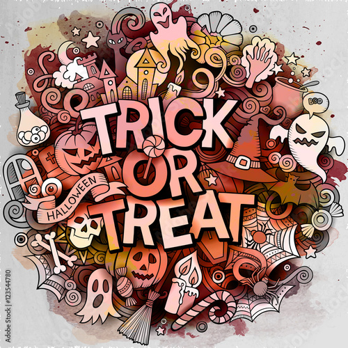 Photo sur Toile Crâne aquarelle Cartoon cute doodles Trick or treat inscription