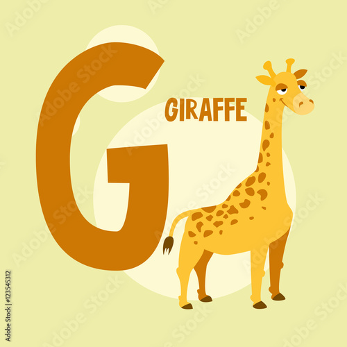 Photo  Funny orange giraffe on the background of the letter G. Vector i