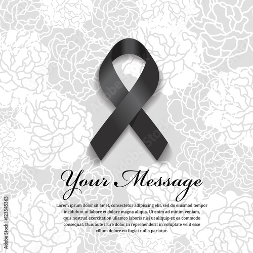 funeral card - Black ribbon and place for text on soft flower abstract background Wall mural