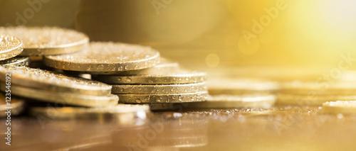 Fototapeta Website banner of golden money coins obraz