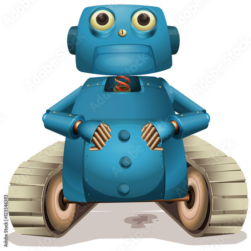 Blue robot with wheels Wallpaper Mural