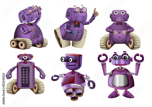 Purple robots in six designs Wallpaper Mural