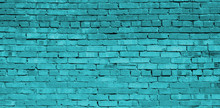 Turquoise Brick Wall Backgroun...