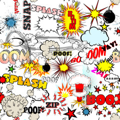 Tapeta Seamless Comic Book Explosion, Bombs And Blast Set. Bubbles for speech, different sounds vector