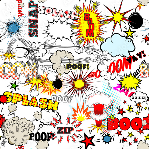 Plakaty Pop Art  seamless-comic-book-explosion-bombs-and-blast-set-bubbles-for-speech-different-sounds-v