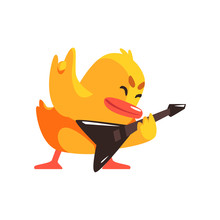 Duckling Playing Electro Guitar Cute Character Sticker