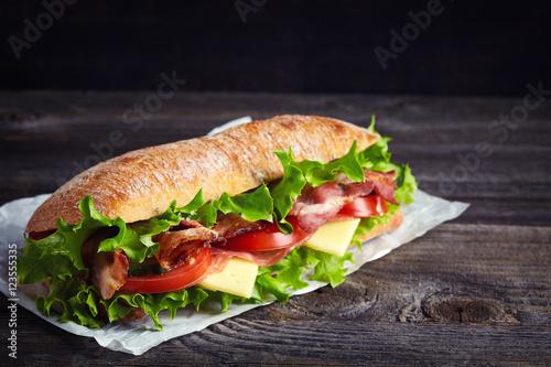 Staande foto Snack Fresh submarine sandwich