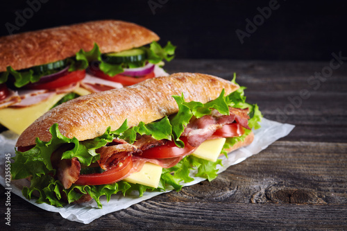 Poster de jardin Snack Two fresh submarine sandwiches
