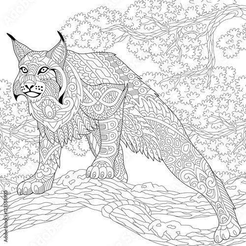 Stylized Hunting Wildcat Lynx American Bobcat Caracal Ready To