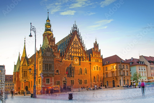 fantastic urban landscape with Town Hall on the medieval Market