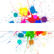 Vector Banner With Bright Ink Color Blots