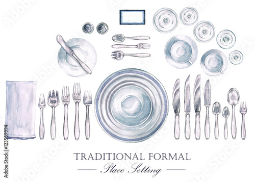 Fotografía  Traditional Formal Place Setting. Watercolor Illustration