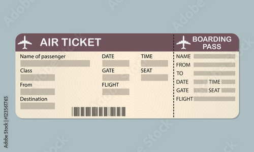 plane ticket template  airline boarding pass  detailed blank of airplane ticket  vector