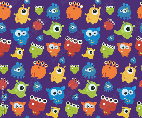 Seamless pattern with monsters. Print for Halloween. Big vector set of cartoon cute monsters and aliens. Custom shapes, bodies,