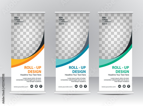 Photo  Roll up banner stand template design