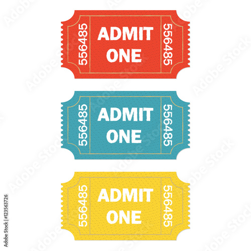Admit one ticket set isolated on white background Wallpaper Mural